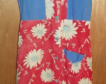 Beautiful Hand Made Blue and Red Daisy Feed Sack Dress with He Loves Me He Loves Me Not Size Small / Medium