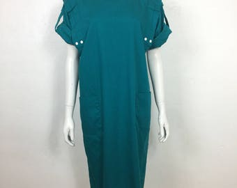 Vtg 80s cotton minimalist teal avant garde snap dress small oversize