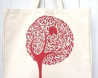 Hand Screen Printed Tree With Birds Design Cotton Canvas Tote Bag Shoulder Bag Beach Bag Grocery Bag Natural Reusable