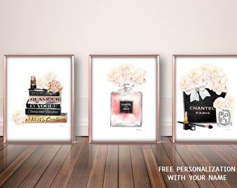 Fashion Wall Art, Fashion Illustration, Fashion Prints, Fashion Poster, Fashion Art Set  Watercolor Pink Peonies Art Print Fashion Books