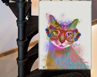 Cat gifts for kids - Cat 1 Print with Flower Glasses - Cat lady gift ideas Cat art print Cat poster art Cat lover gift Funny cat uk shop