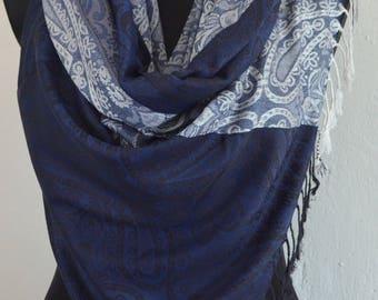 Beautiful Blue Pashmina Scarf, Scarf for Women, Blue Paisley Pashmina Shawl