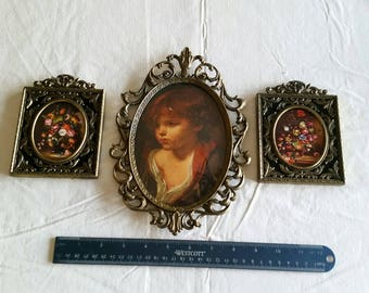 "vintage 10"" oval picture photo frame w/ boy & 2 square 4"" x 5.5"" victorian floral plaques  wall hanging metal prints ornate art deco nouveau"