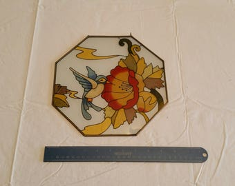 "large octagon stained glass window suncatcher w/ hummingbird & flower 9.5"" by 9.5"" - vintage studio art picture photo - ornament antique"