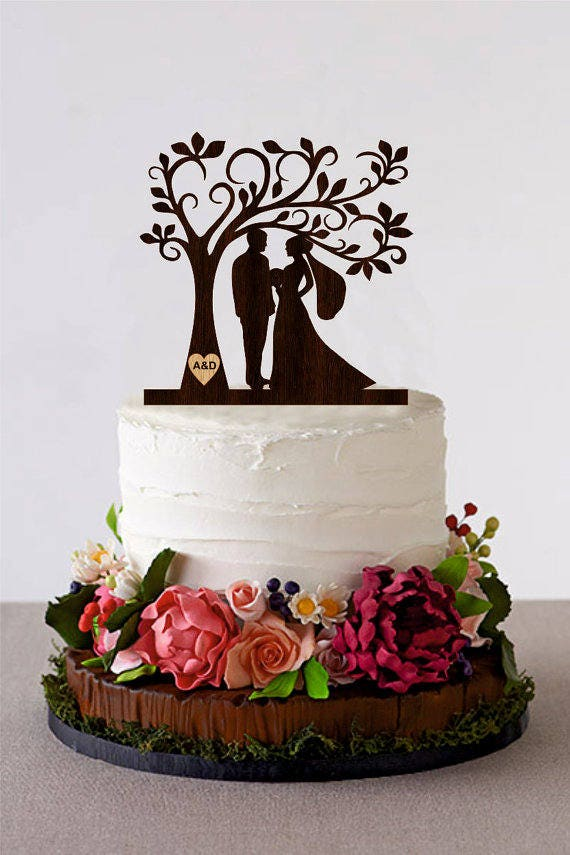 wedding cake topper personalized tree wedding cake topper personalized monogram cake topper 8810