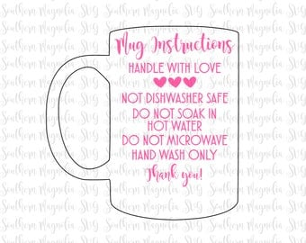 Coffee Mug Care Card Instructions - Print and Cut File - Silhouette - Cricut - Care Instructions - SVG - Design - File ONLY