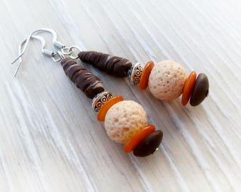Primitive boho ball earrings bohemian dangle casual earrings primitive simple boho jewelry tribal brown earrings boho chic ball earrings