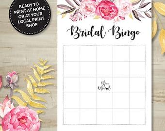 Pink Floral Bridal Bingo Game, Hens Party, Bridal Shower, Bachelorette, Printable Games, Digital Download, Wedding Shower