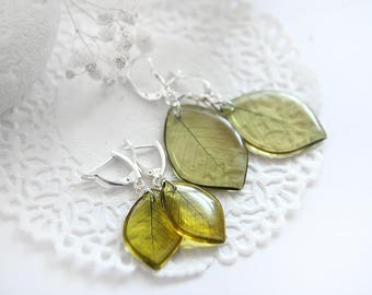 Yellow earrings set for baby shower gift for niece Botanical jewelry Leaves earrings Resin jewelry Craft gift for her Leaf earrings for girl