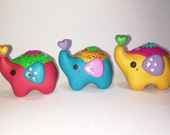 Figures elephants with ornaments and bright flowers india heart red blue yellow green purple charms cute kawaii mini little love cute