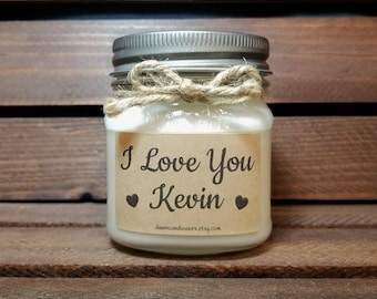 I Love You Candle - 8oz Soy Candles Handmade - Boyfriend Birthday Gift  - Scented Candles - Valentine's Day Gift - Personalized Candles