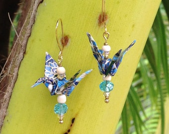 Gold and Blue Origami Crane Earrings