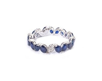 18K Gold Diamond Sapphire Crown Eternity Ring