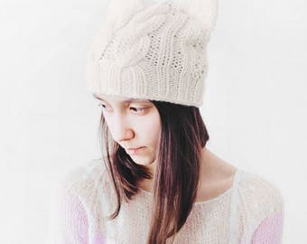 Сat hat, white winter hat, milk winter cat ears hat black cat hat, warm hat, chunky knit hat knitted hat kitty hat  knitted hats for women
