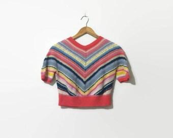 1980s Rainbow Chevron Stripe Knit Short Sleeve Crop Top S-L