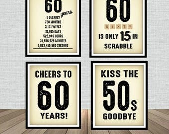 60th Birthday Newspaper Poster Sign Bundle Pack, Back in 1958, Printable, Cheers to 60 Years, 60 in scrabble, Kiss the 50's Goodbye