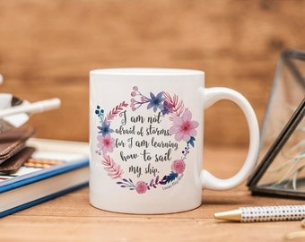 Not Afraid of Storms Ceramic Mug - Little Women - Louisa May Alcott - Bookish Gift - Book Lover Gift - Book Mug