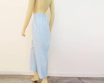 90s Trousers, Size 14 - 16, Checked Pants, Vintage Trousers, Blue Trousers, Pants, Boho Trousers, Vintage Clothing, Trousers, Clothing