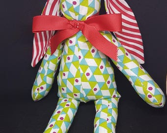 Geometric Green and Blue 100% Cotton Fabric Bunny