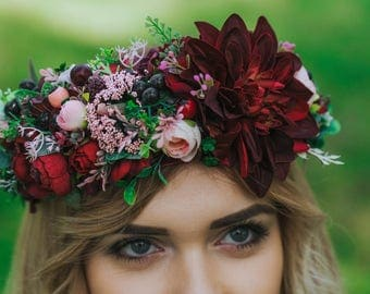 Ready to ship Burgundy flower crown Burgundy wedding Hair wreath Boho flower crown Burgundy bouquet Unique flower crown Burgundy head piece