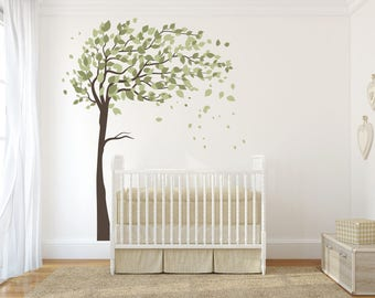 Nursery Wall Decal Tree Vinyl Decal, Tree Wall Decal, Tree and Leaves decal, Kids Vinyl Sticker Vinyl Wall Decal ABTR7