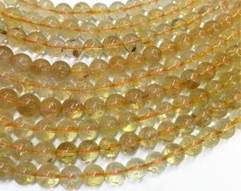 8mm Yellow Quartz Beads, Round Gemstone Beads