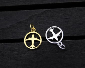 Sterling Silver Airplane Charm Pendants with jump ring, Plane Charm, Plane Pendant, Air plane