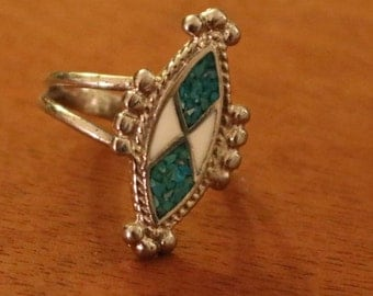 New Turquoise and White Rhodium Silver Ring