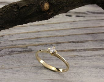 Small engagement ring, Women dainty ring, 14k solid gold engagement ring, Unique gold ring, Women delicate ring, Anniversary ring, For her