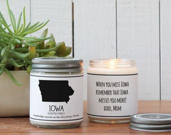 Iowa Scented Candle - Homesick Gift | State Scented Candle | Moving Gift | College Student Gift | Iowa Lover | Iowa State