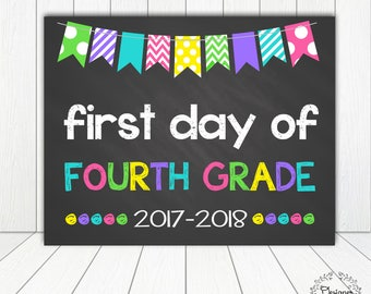 First Day of Fourth Grade Sign Chalkboard Poster Photo Prop 11x14 Printable Instant Download Digital File