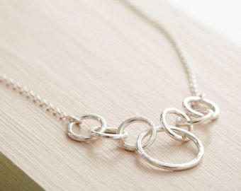Silver Chain Necklace - Circle Necklace - Chunky Chain Necklace - Gift For Mum - Sterling Silver Ring Necklace
