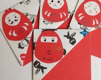 Handmade origami bookmarks - sumo, ninja, samurai, kabuki with kawaii daruma art - set of four