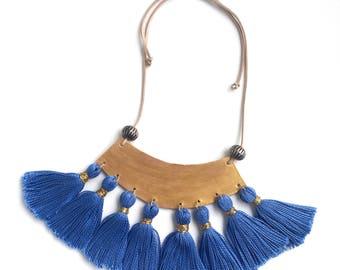 Luna Statement Leather Necklace. Tassel style