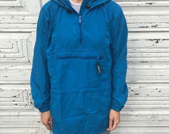 Vintage 90s LL Bean Blue Half Zip Nylon Outdoor Pullover Windbreaker - Small / Medium