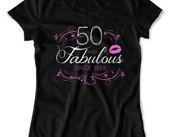 50th Birthday Shirt Mom Birthday Gift For Her Custom T Shirt Personalized TShirt Bday Present 50 Years Old And Fabulous Ladies Tee DAT-1570