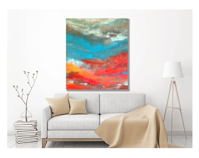 Sun Valley Art -- Original Artwork, Vibrant Wall, Modern Abstract Painting, The Mountains Are Calling and I Must Go, John Muir, Mountain Art