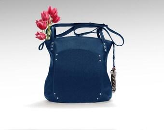 Blue Leather bag cross-over everyday slouchy hobo  shoulder handbag women oversized minimalist classic cowhide crossbody zippered tote