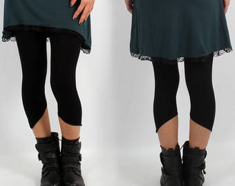 LEGGING Psywear, Tribal, Festival, Elf, Fairy, Yoga, Dance for Women, Alternative Clothing, plain color, ending slightly pointy on the calf