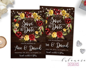 Country Wedding Save the Date Invitation String Lights Rustic Save Date Invite Wood Printable Red Mustard Digital Floral Wreath - WS008