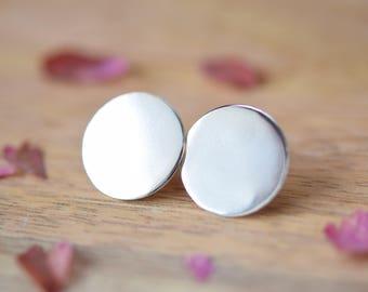 Silver Large Disc Earrings