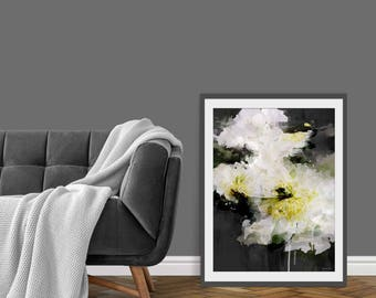Floral Print. Floral Art. Floral Painting. Floral Picture. Watercolours. White Flowers. Wall Art. Gift.