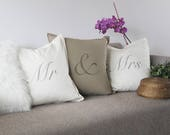 Mr and Mrs cushions, hand...
