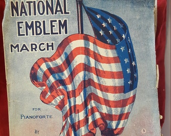 Vintage 1911 National Emblem Sheet music-E.E.Bagley sheet music-Vintage sheet music-Patriotic sheet music-