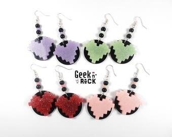SALE 50% geek - gift geek, gamer, gaming pixel art pixel heart earrings