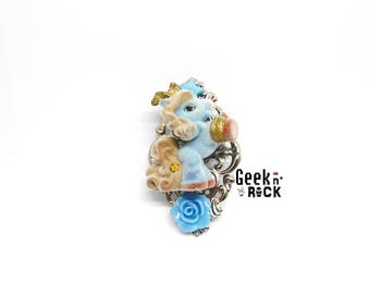 Recycling toy - little pony, Unicorn - kawaii brooch