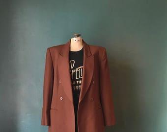 Vintage Wool Blazer. Boyfriend Blazer. Oversized Blazer. Minimalist Blazer. Long Blazer. Wool Brown Blazer. Classic Blazer. Wool Coat