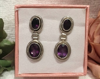 Absolutely Beautiful Vintage Sterling SILVER & AMETHYST Drop and Dangle Earrings-Gorgeous OVAL Shaped Stones-Wonderful 3cm Drop