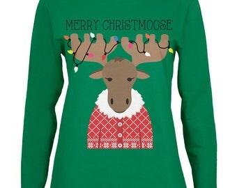 Christmas Merry ChristMoose Moose Womens Long Sleeve T Shirt