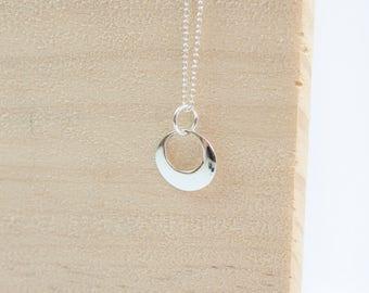 Yolanda Crescent Moon Pendant, Sterling Silver, Moon Necklace, Moon Jewelry, Crescent Moon, Half Moon Pendant, Silver, Engraved